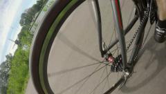 Racer rear wheel, fish-eye Stock Footage