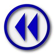 Rewind icon. Blue internet button on white background.. Stock Illustration