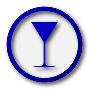 Martini glass icon. Blue internet button on white background.. - stock illustration