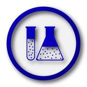 Stock Illustration of Chemistry set icon. Blue internet button on white background..