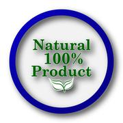 Stock Illustration of 100 percent natural product icon. Blue internet button on white background..