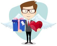 Young man smiling , holding gift and heart Stock Illustration