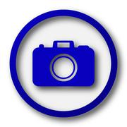 Photo camera icon. Blue internet button on white background.. - stock illustration