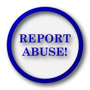 Stock Illustration of Report abuse icon. Blue internet button on white background..