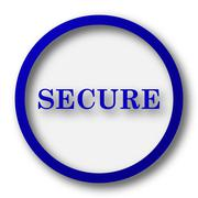 Secure icon. Blue internet button on white background.. - stock illustration
