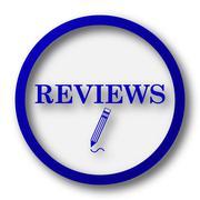 Reviews icon. Blue internet button on white background.. - stock illustration