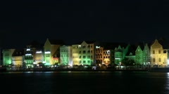 Stock Video Footage of Night Time Lapse of Willemstad, capital city of Curaçao