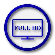 Full HD icon. Blue internet button on white background.. - stock illustration