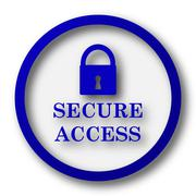 Secure access icon. Blue internet button on white background.. - stock illustration