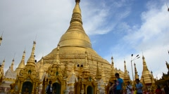 People travel and walking around of Shwedagon Pagoda in Yangon, Myanmar Stock Footage