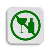 Stock Illustration of No alcohol icon. Internet button on white background..