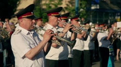 Musicians at the festival of military brass bands Stock Footage