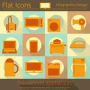 Flat Home Appliances Icons Set Stock Illustration
