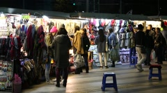 Seoul - Dongdaemun Night Market Shoppers Stock Footage