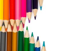 Pencils with tips in zigzag composition Stock Photos