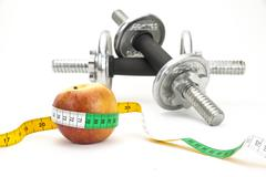 Healthy Living - nutrition & exercising - stock photo
