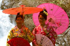 Attractive asian women wearing traditional kimono on nature background Stock Photos