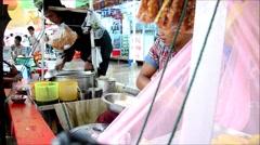 Cooking Shan inspired or Nan gyi thohk Noodle salad Burmese cuisine Stock Footage