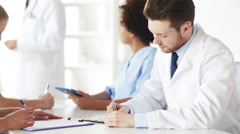 group of doctors on seminar or lecture at hospital - stock footage