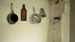 Kitchen utensils in an old house - stock footage