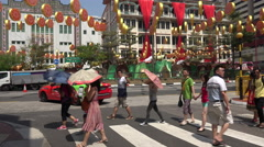Multi ethnic people walk in Chinatown, Singapore Stock Footage