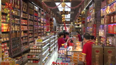 Tax free shop in Chinatown, Singapore Stock Footage