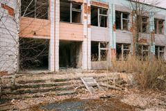 Dilapidated Abandoned House In Chernobyl Resettlement Zone. Chor - stock photo