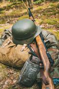 German military ammunition of World War II on ground - stock photo