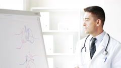 Happy doctor showing medical drawing on flip board Stock Footage