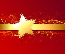 Red background with gold stripe. - stock illustration
