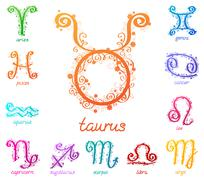Zodiac signs with floral pattern. Stock Illustration