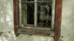 Old window and kerosene lamps Stock Footage