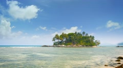 Beautiful Sunny Day over a Little Tropical Island in Timelapse Stock Footage