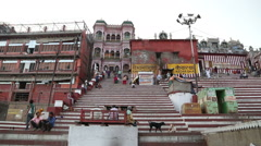 View on street stairs that lead to buildings and houses in Varanasi. Stock Footage