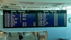 4K Portugal Porto Airport Time Table inside check-in area Stock Footage