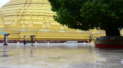 Shwemawdaw Paya Pagoda at raining time in Bago, Myanmar - stock footage