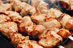 Grilled caucasus barbecue Stock Photos