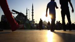 Square with people walking around Eminonu Mosque in Istanbul City. Time Lapse Stock Footage