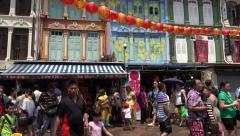 Historic buildings, Pagoda Street, Chinatown, Singapore Stock Footage