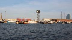 Port Vell, Old Port of Barcelona, Spain Stock Footage