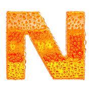 Fresh Orange alphabet symbol - letter N. Water splashes and drops on transpar - stock illustration
