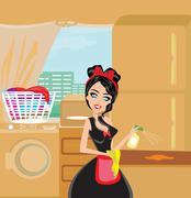 Sexy pinup style french maid cleans the kitchen - stock illustration