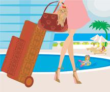 Stock Illustration of travel girl with baggage
