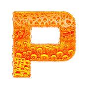 Fresh Orange alphabet symbol - letter P. Water splashes and drops on transpar - stock illustration