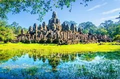 Thom, famous temple of Angkor Wat, Cambodia Stock Photos