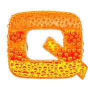 Fresh Orange alphabet symbol - letter Q. Water splashes and drops on transpar - stock illustration