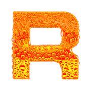 Fresh Orange alphabet symbol - letter R. Water splashes and drops on transpar - stock illustration
