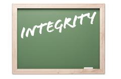 Chalkboard Series Isolated on a White Background - Integrity. - stock photo