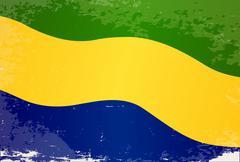 Gabon Flag Grunge Stock Illustration