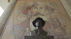 Santos Dumont Statue on Santos Dumont Airport - Rio de Janeiro - Brazil Stock Footage